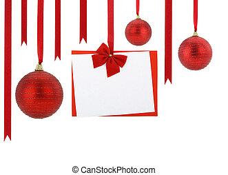 kugeln, rotes , hängender , bänder, weihnachtskarte