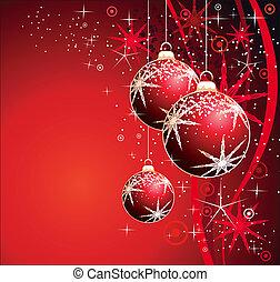 kugeln, schneeflocken, sternen, verschieden, hintergrund, weihnachten