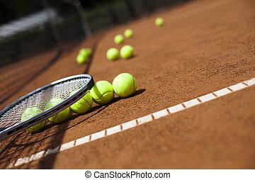 kugeln, tennis, sport, schläger