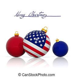 kugeln, usa, freigestellt, fahne, weißes weihnachten