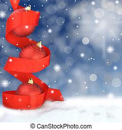 kugeln, verschneiter , roter hintergrund, weihnachten, geschenkband