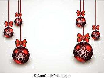 kugeln, weihnachten, hintergrund, rotes