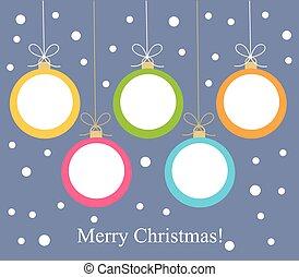 kugeln, weihnachtskarte