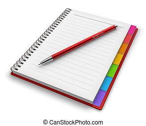 kugelschreiber, notizblock, stift, buero