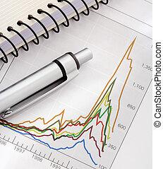 kugelschreiber, notizbuch, auf, schaubild