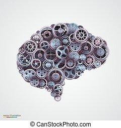 kuggar, hjärna, form, mänsklig
