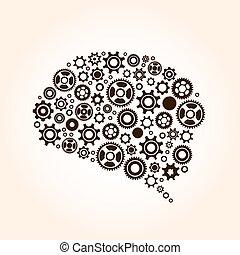 kuggar, hjärna, utrustar, mänsklig, bygga, ute