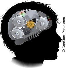 kuggar, maskin, hjärna, utrustar, barn, arbetsgång