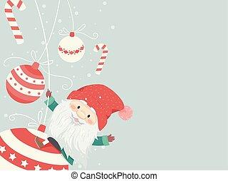 kugler, illustration, jul, baggrund, tomte, xmas., mand