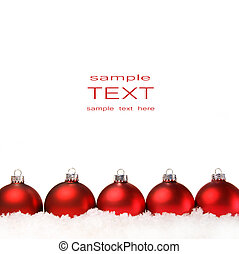 kugler, isoleret, sne hvide, jul, rød