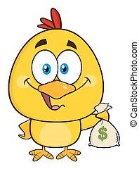 kuiken, geld, gele, het houden zak