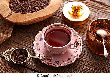 kukicha, tè, servito, rosa, vendemmia, tazza