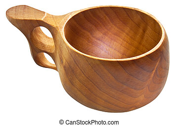 kuksa, -, tradicional, finlandés, de madera, taza