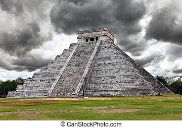 kukulkan, pirámide, en, chichen itza, en, el, yucatán