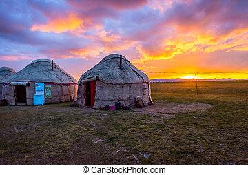 kul, kyrgyzstan, yurts, 日没, 歌