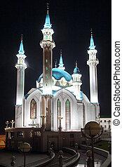 kul sharif mosque at night in kazan russia