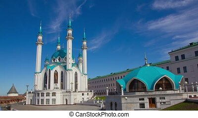 Kul Sharif mosque in Kazan kremlin, Russia, timelapse 4k