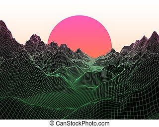 kula, abstrakcyjny, tło., wektor, sun., technologia, krajobraz