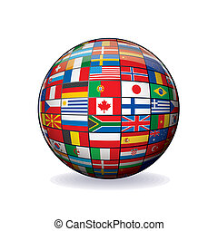 kula, bandery, globe., świat
