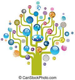 kula, drzewo, barwny, ikony