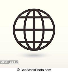 kula, płaski, icon., znak, planeta