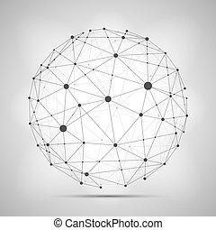 kula, wireframe, sphere., połączenie, wektor, złączony, ziemia, concept.