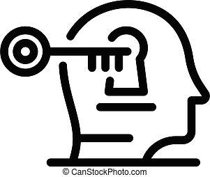 kulcs, áttekintés, ember, mód, ikon, gondolat