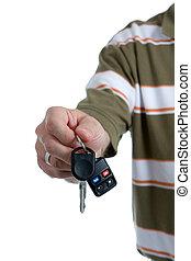 kulcs, fordíts, család autó