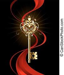 kulcs, lis, arany-, fleur, ellen-