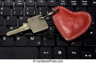 kulcs, szív, jelkép, billentyűzet
