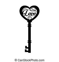 kulcs, szeret szív, öreg, középkori, vektor, grafikus, ikon