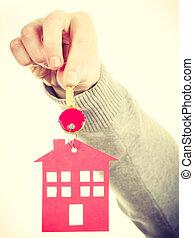 kulcskarika, noha, épület, pendant.