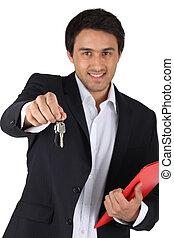 kulcsok, épület, ügynök, ajánlat, birtok