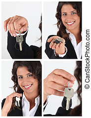kulcsok, épület, kiállítás, telep közvetítő