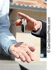 kulcsok, épület, kiadás, ügynök