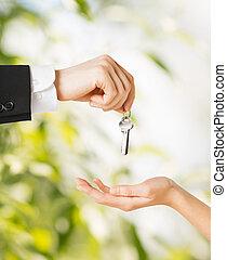 kulcsok, épület, nő, ember