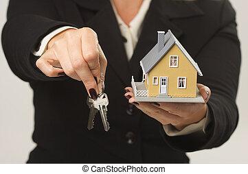 kulcsok, épület, női kezezés