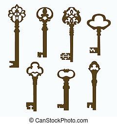 kulcsok, öreg, állhatatos, ajtó, faragott