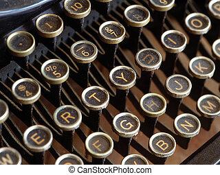 kulcsok, öreg, írógép