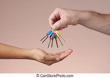 kulcsok, elmenő, csoport, színes, kéz