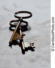 kulcsok, erdő, öreg, kopott