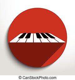 kulcsok, háló, zongora, vektor, icon.