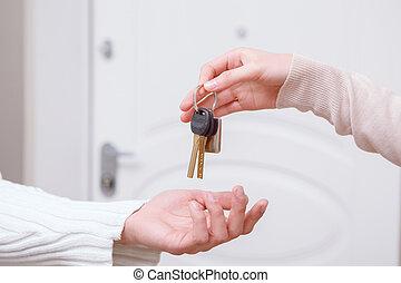 kulcsok, két, birtok, emberek