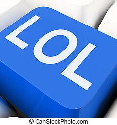 kulcsok, lol, nevető, túláradóan vidám, hangosan, vagy, szándékozik