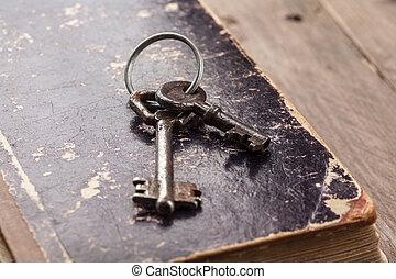 kulcsok, szüret, könyv, öreg