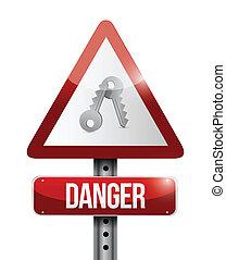 kulcsok, veszély, felszólít cégtábla, ábra, tervezés
