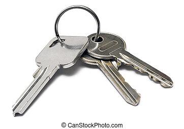 kulcsok, w/, karika, három
