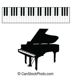 kulcsok, zongora, vektor, ábra
