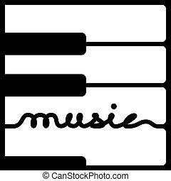 kulcsok, zongora, vektor, zene, kézírás