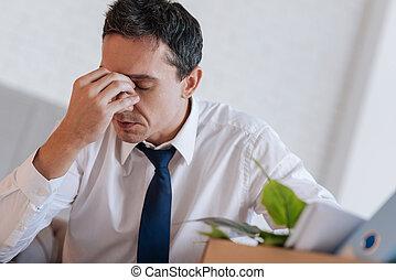 øjne Hans Ulykkelige Pande Røre Aflukket Mand Hovedpine Blå